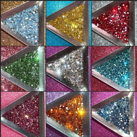 Mixed Pack of 200pc Swarovski Flatback Crystals, Non-Hotfix, Mix Of Sizes SS5/SS7/SS9/SS12/SS16.